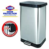 GLAD GLD-74507 Extra Capacity Stainless Steel Step Trash Can with Clorox Odor Protection of The Lid, Fits All 20G Garbage Waste Bags, 20 Gallon