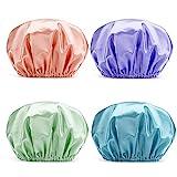 AmazerBath Shower Cap, 4-Pack Shower Caps for Women, Double Waterproof Layers Bathing Shower Hat Hair Protection EVA Shower Caps Reusable, Medium Size