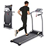 Folding Treadmill, Electric Running Machine with LCD Monitor Motorized Walking Running Machine Equipment for Home Gym (Silver)