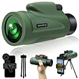 12X50 HD Monocular Telescope with Quick Smartphone Holder, Day & Low Night Vision Monocular for Adults Kids, SAUDIO Waterproof Monocular -BAK4 Prism for Hunting, Bird Watching, Sport Watchig