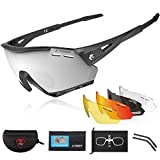 X-TIGER Polarized Sports Cycling Biking Sunglasses with 5 Interchangeable Lenses UV Protection for Men&Women (Blacks)