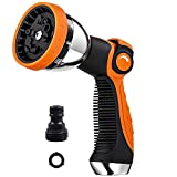 Garden Hose Nozzle Spray Nozzle,10 Hose Metal Duty Watering Patterns Thumb Control On Off Valve, High Pressure Nozzle Sprayer for Watering Plants, Car Wash,Cleaning,Showering Pets