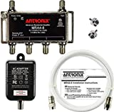 4-Port Cable TV/Antenna/HDTV/Internet Digital Signal Amplifier/Booster/Splitter with Passive Return, Coax Cable, F59 Terminators (Antronix MRA4-8)