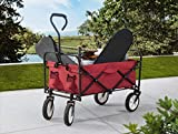 S2 Lifestyle G3GC00023A-R Brazee Collapsible Folding Wagon Cart with Wheels, Red