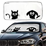 IC ICLOVER Car Windshield Sunshade with Pet Design, Cute Cartoon Design Front Auto Car Windshield Sun Shade Folding Silvering Sun Visor - UV Coating for UV Ray Deflector (59 x 33 Inches)