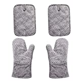 Nuovoo 4-Piece Oven Mitt and Pot Holder Set, Non-Slip Silicone Surface, 500 F Heat Resistant Oven Gloves for Kitchen Cooking (White)