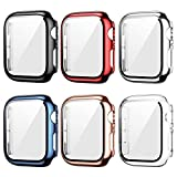 6 Pack Apple Watch Case with Tempered Glass Screen Protector for Apple Watch 44mm Series 6/5/4/SE, Haojavo Plated Hard PC Ultra-Thin Scratch Resistant Bumper Protective Cover for iWatch Accessories