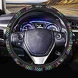 FOR U DESIGNS Black Steering Wheel Cover Pineapple Pattern Auto Car Steering Wheel Cover for Men Women Universal Fit 15 Inch