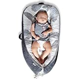 Mamibaby Baby Lounger Baby Nest Co-Sleeping for Baby, Ultra Soft Cotton & Breathable Fiberfill Portable Adjustable Newborn Lounger Crib Bassinet | Newborn Shower Gift Essential (Leaves Pattern)