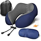 Travel Pillow 100% Pure Memory Foam Neck Pillow for Airplanes, Super Soft & Comfortable Pillow with Machine Washable Cover, Airplane Travel Kit with 3D Contoured Eye Masks, Earplugs and Reusable Bag