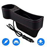 SUNMORN Car Seat Gap Organizer, Multifunctional with Dual USB Charging, Cup Holder, Leather Storage Box, NOT FIT Central Console Lower Than The Seat (Left)