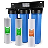 iSpring WGB32B 3-Stage Whole House Water Filtration System w/ 20-Inch Sediment and Carbon Block Filters