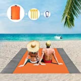 BANIC Beach Blanket, 79''×83'' Beach Blanket Waterproof Sandproof for 3-7 Adults, Oversized Lightweight Beach Mat, Portable Picnic Blankets, Sand Proof Mat for Travel, Camping, Hiking