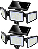 Outdoor Solar Powered Flood Lights with Motion Sensor, 210 LED 2500LM, IP65 Waterproof, 3 Adjustable Heads, 270° Wide Angle, Wireless Security Light for Garage Patio Porch Garden Yard - 2 Pack