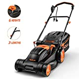 TACKLIFE Electric Lawn Mower, 14-Inch / 10-Amp Lawn Mower, 6 Adjustable Mowing Heights, 3 Operation Heights, Foldable Handlebars, Easy Control, 10.5Gal Grass Box – KALM12A