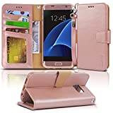 Arae Case Compatible for Samsung Galaxy s7 Edge, [Wrist Strap] Flip Folio [Kickstand Feature] PU Leather Wallet case with ID&Credit Card Pockets (Rosegold)