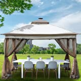 Happybuy Pop Up Gazebo 12' x 12' with Solar Panel Light - Outdoor Canopy Gazebo with 4 Sandbags and Netting - Patio Gazebo with 144 Square Feet of Shade for Backyard, Outdoor, Patio and Lawn