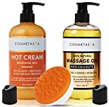 Anti-Cellulite Massage Oil, Gel & Mitt - 100% Natural Cellulite Treatment with Hot Cream Massage Gel, Oil & Massager - Helps Break Down Fat Tissue - Firm, Tone, Tighten & Moisturize Skin (8.8 oz)