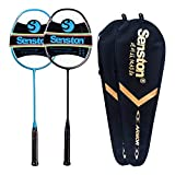 Senston N80 - 2 Pack Graphite High-Grade Badminton Racquet, Professional Carbon Fiber Badminton Racket Included Black Blue Color Rackets 2 Carrying Bag