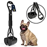 DEGBIT Non-Breakable Dog Pooper Scooper for Large and Small Dogs, Long Handle Portable Pet Pooper Scooper, High Strength Materials & Durable Spring, Great for Lawns, Grass & Gravel - Black