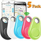 GBD 5 Pack GPS Tracker Smart Key Finder Locator for Kids Boys Girls Pets Key Wallet Car Dog Cat Bag Luggage Phone Alarm Sensor Anti Lost Selfie Shutter Wireless Seeker Holiday Birthday Gifts