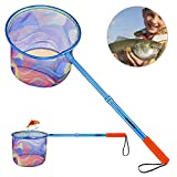 ODDSPRO Kids Fishing Net with Carbon Fiber Telescopic Pole Handle - Lightweight Aluminum Alloy Ring and Polyester Fibers Landing Net for Catch and Release or Butterfly Net