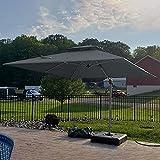 PURPLE LEAF 10ft Patio Umbrella Outdoor Square Umbrella Large Cantilever Umbrella Windproof Offset Umbrella Heavy Duty Sun Umbrella for Garden Deck Pool Patio, Grey