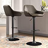 Glitzhome Mid Century Bar Stools Set of 2 Vintage Swivel Leather Bar Chair with Backrest and Footrest, Modern Pub Kitchen Counter Height Barstools, Dark Grey