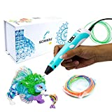 SCRIB3D P1 3D Printing Pen with Display - Includes 3D Pen, 3 Starter Colors of PLA Filament, Stencil Book + Project Guide, and Charger