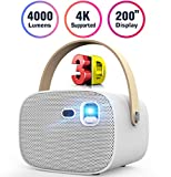 Mini Projector 4000 Lumens 3D Portable DLP Video Projector ±40° Keystone Built in Stereo Speaker Support 4K HDMI USB iPhone PC Bluetooth PS4 200' Home Theater Outdoor Gaming Wireless Screen Sharing