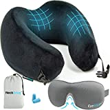 Luxury Travel Neck Pillow Sleep Kit - 100% Memory Foam Travel Pillow, 3D Contoured Sleep Mask, Moldable Ear Plugs, Compact Carry Bag. Moldable and Breathable Neck Pillow