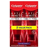 Colgate Optic White Renewal Teeth Whitening Toothpaste with Fluoride, 3% Hydrogen Peroxide, Enamel Strength, 3 Oz, Pack of 2