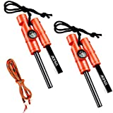 AOFAR Fire Starter AF-381 Fire Steel 5-in-1 for Camping, Hiking, Hunting, Backpacking, Boating, Outdoor Magnesium Survival Rod with Fire Paracord, Compass and Whistle, Waterproof (2-Pack)