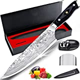 MOSFiATA 8' Super Sharp Professional Chef's Knife with Finger Guard and Knife Sharpener, German High Carbon Stainless Steel EN1.4116 with Micarta Handle and Gift Box
