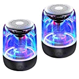 Megatek Portable Bluetooth Speakers, Dancing LED Lights, Wireless Stereo (TWS) Speakers for Phone/Tablet/PC/TV, Loud HD Sound with Enhanced Bass, Aux in, Small Pocket Size, 12H Playtime - 2 Pack