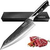 enowo Damascus Chef Knife 8 Inch with Premium G10 Handle&Triple Rivet,Razor Sharp Kitchen Knife Japanese VG-10 Stainless Steel,Gift Box,Ergonomic,Superb Edge Retention, Stain & Corrosion Resistant
