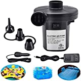 ONG NAMO Electric Air Pump for Inflatables, Portable Quick Air Pump with 3 Nozzles for Air Mattresses Beds Boats Swimming Ring Inflatable Pool Toys 110 V AC/12V DC (50W)
