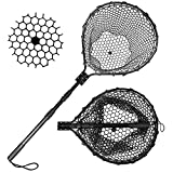 Blue Billow Rubber Fishing Net Large Folding Landing Net,Collapsible Aluminum Pole Handle with Deep Net for Fishing,Big Fishing Net for Freshwater and Saltwater,Fly Fsihing Net Extend to 67 inches