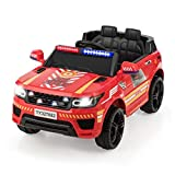 Costzon Kids Ride on Car, 12V Battery Powered Electric Police Truck w/ 2.4G Remote Control, Flashing Siren, Headlights, Microphone, Double Open Doors, Spring Suspension, SUV Vehicle for Children (Red)