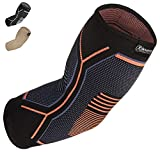 Kunto Fitness Elbow Brace Compression Support Sleeve for Tendonitis, Tennis Elbow, & Golf Elbow Treatment - Reduce Joint Pain During Any Activity! (Medium)