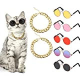 7 Piece Cool Cat Dog Costume Set Include Adjustable Gold Pet Dog Chain and Funny Cute Cat Small Dog Sunglasses Retro Pet Sunglasses for Cat Puppy Small Medium Dog (Vivid Colors)