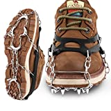 wodifer Hapire Black Traction Cleats Crampons Unisex Men Women Ice Grippers Anti-Slip Stainless Steel Snow Spikes for Shoes Boots Winter Walking Hiking Climbing Spikes