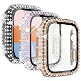 KADES 3-Pack Bling Cases Compatible for Apple Watch Case with Built-in Screen Protector for iWatch SE 38mm 40mm 42mm 44mm Series 6 5 4 3 2 1 (40mm, Rose gold/Iridescent/Clear)