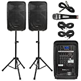 "Knox Dual Speaker and Mixer Kit – Portable 8"" 300 Watt DJ PA System with Wired Microphone, and Tripods – 8 Channel Amplifier - Bluetooth, USB, SD, 1/4"" Line RCA, XLR Inputs"