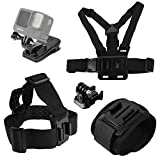 Accessories Set for GoPro Hero 9/8/7/6/5/4,New Quick Release Head Strap Mount + Chest Mount Harness + Backpack Clip Holder + 360°Rotating Wrist Strap