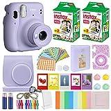 Fujifilm Instax Mini 11 Instant Camera Lilac Purple + MiniMate Accessories Bundle & Compatible Custom Case + Fuji Instax Film Value Pack (40 Sheets) Color Filters, Photo Album, Assorted Frames