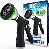 Best Garden Hose Nozzle (HIGH Pressure Technology) - 8 Way Spray Pattern - Jet, Mist, Shower, Flat, Full, Center, Cone, and Angel Water Sprayer Settings - Rear Trigger Design - Steel Chrome Design