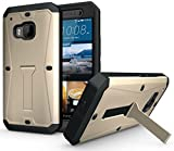 ECOZ Heavy Duty [SHIELDX-PRO] Hybrid Full-Body Protective Case with Front Cover and Built-in Screen Protector/Impact Resistant Bumpers Cover for HTC One M9 (Champagne)