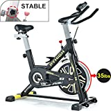 PYHIGHIndoor Cycling Bike Belt Drive Stationary Bicycle ExerciseBikes with LCD Monitor for Home Cardio Workout BikeTraining- Black