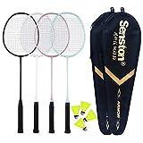 Senston Badminton Rackets 4 Pack, Badminton Set Including 2 Badminton Bag/4 Rackets/4 Nylon Badminton